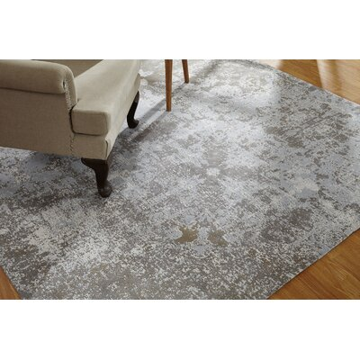 Shonna Hand-Knotted Cotton Gray Area Rug Rug Size: Rectangle 36 x 56