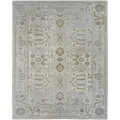 Matheney Hand Knotted Cotton Gray Area Rug Rug Size: Rectangle 86 x 116