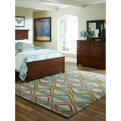 Keddie Hand-Knotted Wool Blue/Beige Area Rug Rug Size: Rectangle 9 x 12