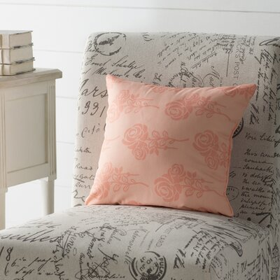 Auserine Floral Print Throw Pillow Size: 16 H x 16 W, Color: Peach