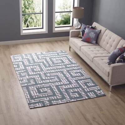 Selvage Geometric Maze Ivory/Light Gray/Sky Blue Area Rug Rug Size: Rectangle 5 x 8