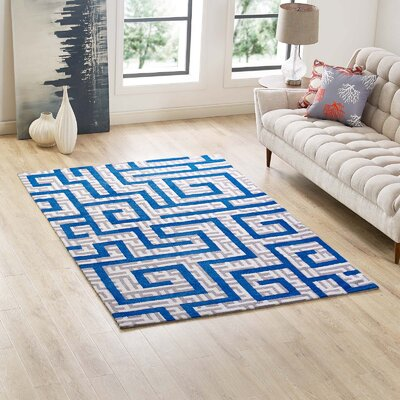 Selvage Geometric Maze Ivory/Light Gray/Blue Area Rug Rug Size: Rectangle 5 x 8
