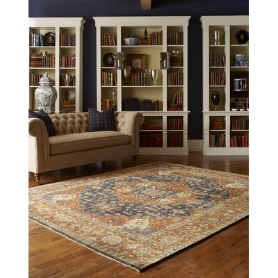 Matteson Hand Knotted Wool Navy/Rust Area Rug Rug Size: Rectangle 3 x 5