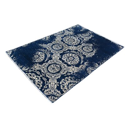 One-of-a-Kind Carmela Hand-Knotted Wool Blue/Ivory Area Rug