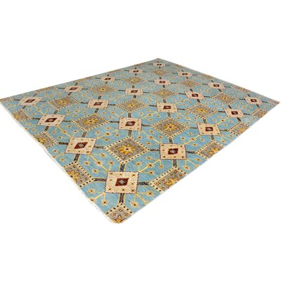 One-of-a-Kind Carmela Hand-Knotted Wool Light Blue/Gold Area Rug