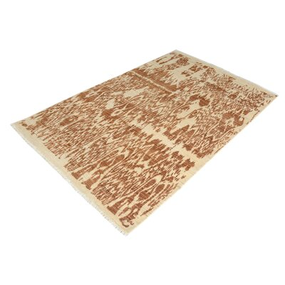 One-of-a-Kind Carmela Hand-Knotted Wool Ivory/Brown Area Rug
