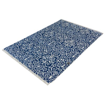 Zenaide Hand-Knotted Wool Blue/Ivory Area Rug