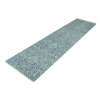 One-of-a-Kind Holiday Hand-Knotted Wool Light Blue/Light Green Area Rug Rug Size: Runner 25 x 99