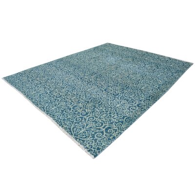 One-of-a-Kind Holiday Hand-Knotted Wool Light Blue/Light Green Area Rug Rug Size: Rectangle 8 x 10