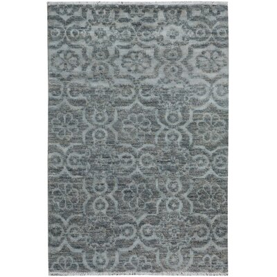 One-of-a-Kind Holiday Hand-Knotted Wool Gray Area Rug