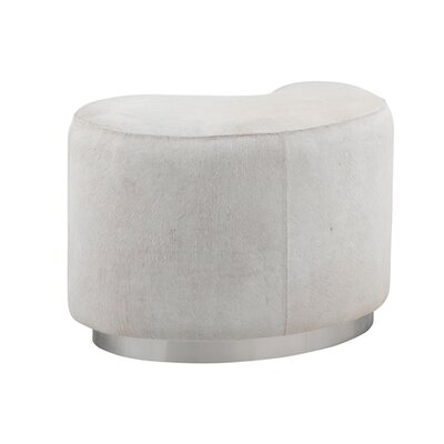 Moncasa Leather Ottoman Upholstery: White
