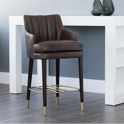 5west Valerie Counter 26 Bar Stool Upholstery: Brown