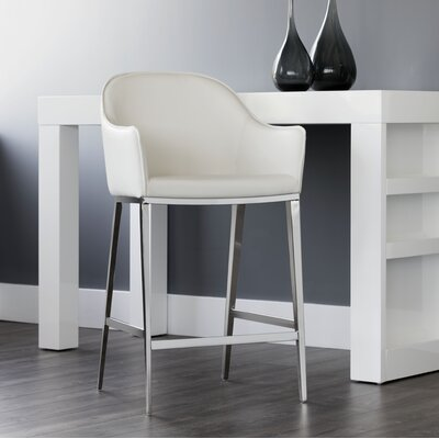 Ikon Stanis Counter 26 Bar Stool Upholstery: White