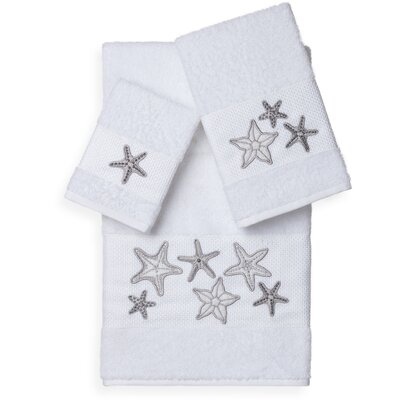 Tiarra 3 Piece Towel Set Color: White