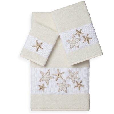 Tiarra 3 Piece Towel Set Color: Cream