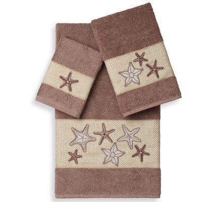 Tiarra 3 Piece Towel Set Color: Latte