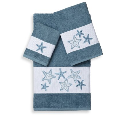 Tiarra 3 Piece Towel Set Color: Teal