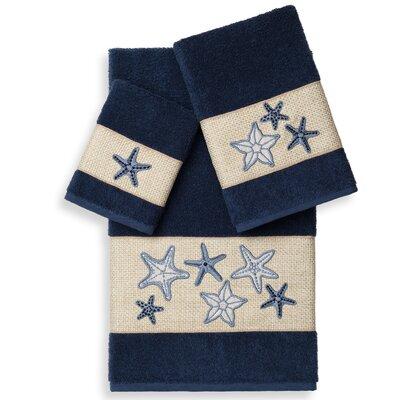 Tiarra 3 Piece Towel Set Color: Midnight Blue
