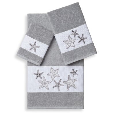 Tiarra 3 Piece Towel Set Color: Light Gray