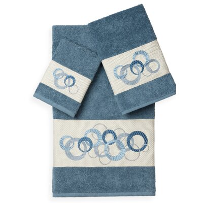Byblos 3 Piece Towel Set Color: Teal