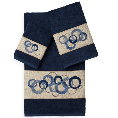 Byblos 3 Piece Towel Set Color: Midnight Blue