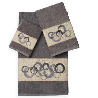 Byblos 3 Piece Towel Set Color: Dark Gray