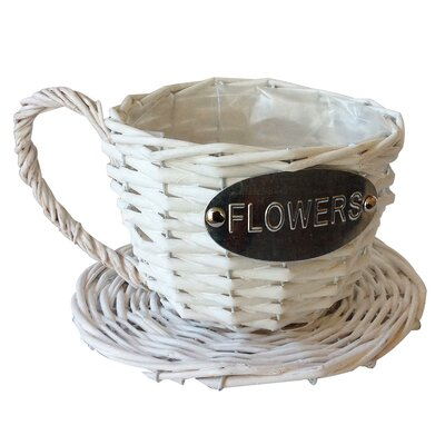 Serita Handmade Coffee Cup Wicker Pot Planter Color: White AGTG7067 44540218