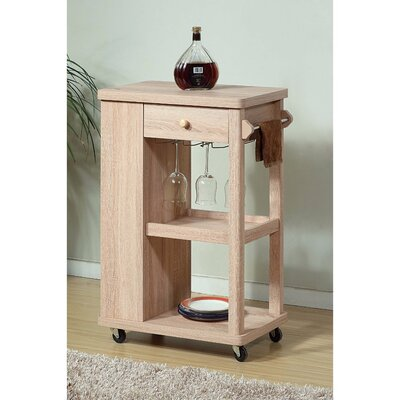 Alarick Stylish Kitchen Cart with 2 Wine Glass Racks and 1 Drawer