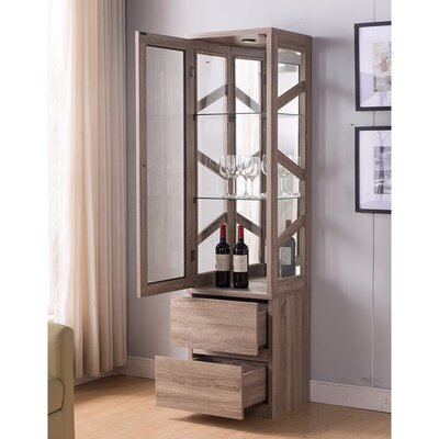 Burruss Floor Wine Cabinet Color: Light Brown