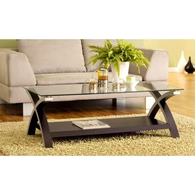 Jarmon Cross Legs Modern Glass Coffee Table