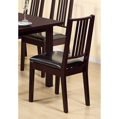 Charmine Comfortable Upholstered Dining Chair with Lustrous Finish Seat Upholstery Color: Black, Frame Color: Dark Brown