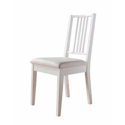 Charmine Comfortable Upholstered Dining Chair with Lustrous Finish Seat Upholstery Color: White, Frame Color: White