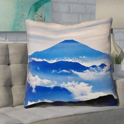 Enciso Fuji Square Throw pillow Size: 18 H x 18 W, Color: Blue
