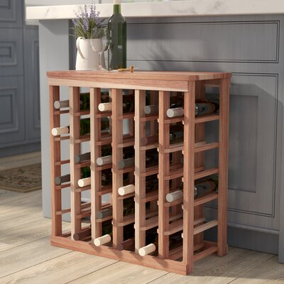 Karnes Redwood Table Top 36 Bottle Floor Wine Rack Finish: Natural