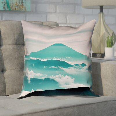 Enciso Fuji Pillow Cover Size: 16 H x 16 W, Color: Green
