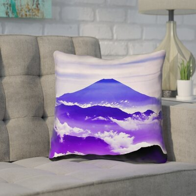 Enciso Fuji Square Outdoor Throw pillow Size: 18 H x 18 W, Color: Blue/Purple