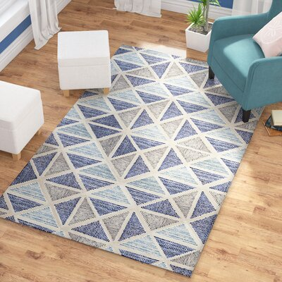 Callista Hand-Tufted Wool Blue/Smoke Gray Area Rug Rug Size: Rectangle 5 x 8