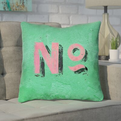 Enciso Graphic Square Wall Throw Pillow Size: 14 x 14, Color: Green/Pink