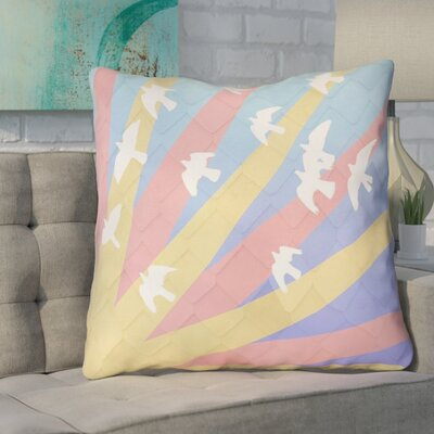 Enciso Birds and Sun 100% Cotton Euro Pillow Color: Blue/Yellow/Orange