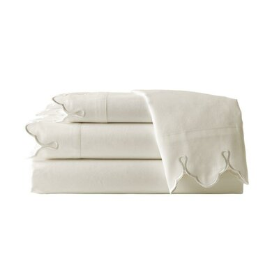 Claudie Embroidered 300 Thread Count 100% Cotton Sheet Set Size: Twin, Color: Cream