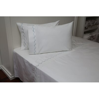 Pfeffer Scalloped 300 Thread Count 100% Cotton Sheet Set Size: Queen, Color: LIght Blue