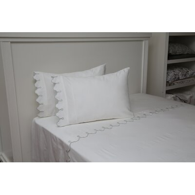 Claudie Embroidered 300 Thread Count 100% Cotton Sheet Set Size: Queen, Color: White