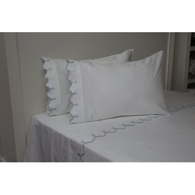 Claudie Embroidered 300 Thread Count 100% Cotton Sheet Set Size: Full/Double, Color: Blue