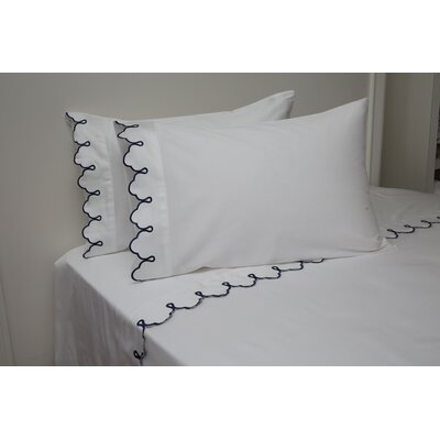Claudie Embroidered 300 Thread Count 100% Cotton Sheet Set Size: King, Color: White navy