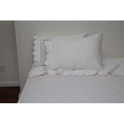 Claudie Embroidered 300 Thread Count 100% Cotton Sheet Set Size: Full/Double, Color: Pink