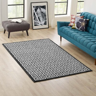 Selman Greek Key Black/White Area Rug Rug Size: Rectangle 5 x 8