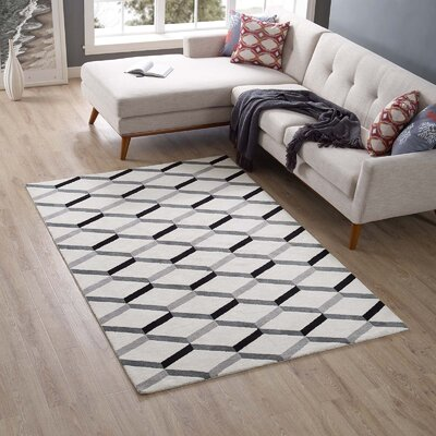 Zentique Geometric Black/White Area Rug Rug Size: Rectangle 5 x 8