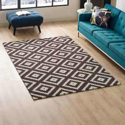 Shaunda Abstract Diamond Ivory/Brown Area Rug Rug Size: Rectangle 5 x 8