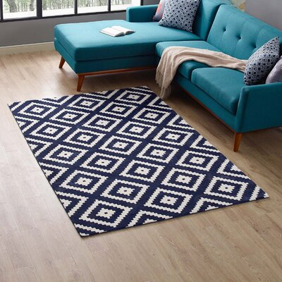 Shaunda Abstract Diamond Ivory/Navy Area Rug Rug Size: Rectangle5 x 8