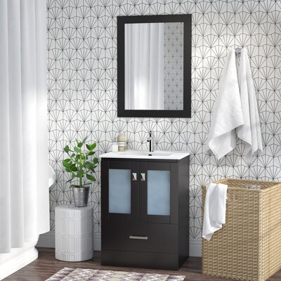 Lapoint Modern 24 Single Bathroom Vanity Set with Mirror Base Finish: Espresso